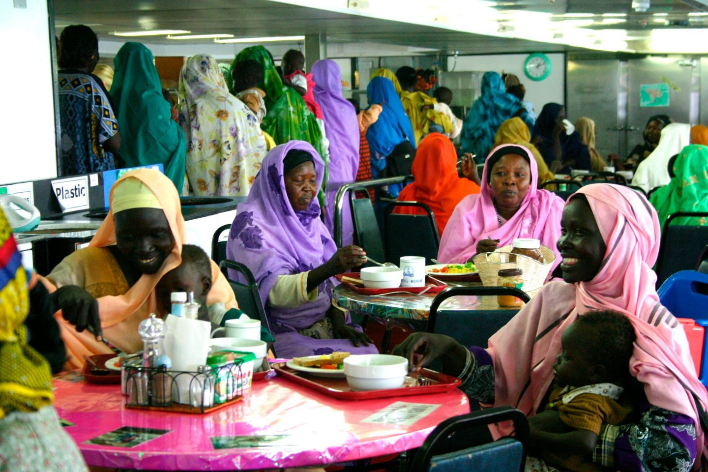 Local women in Suakin, Sudan, enjoy a meal on April 7, 2015, in Doulos dining room. Photo by Ingrid Supikova.