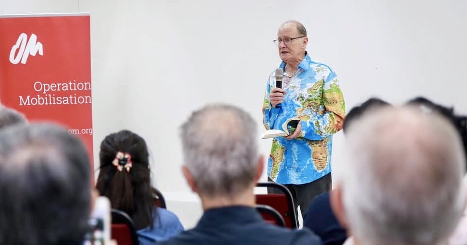 George remains passionate about reaching the lost and equipping the saints. He is pictured here, sharing his heart for the lost at the OM Singapore office. Photo from OM Singapore's Facebook page.