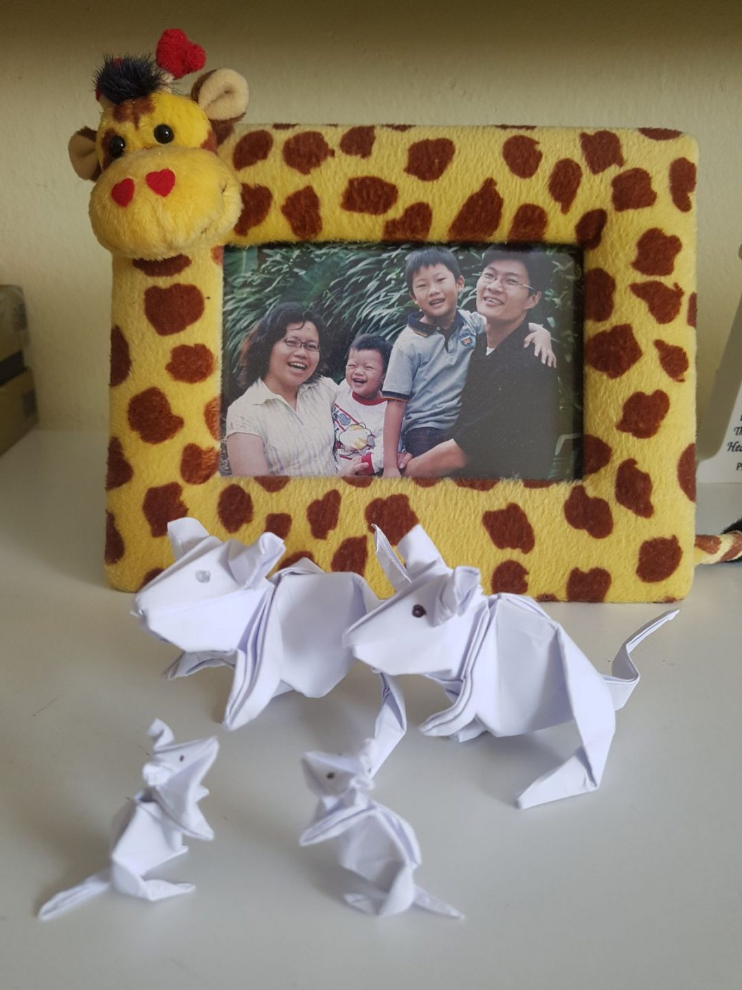 Some of the origami animals that Yeoh folds to give out to his clients, usually accompanied by a little blessing of joy. In the background is an old family photo of the couple and their two sons, now 15 and 20.