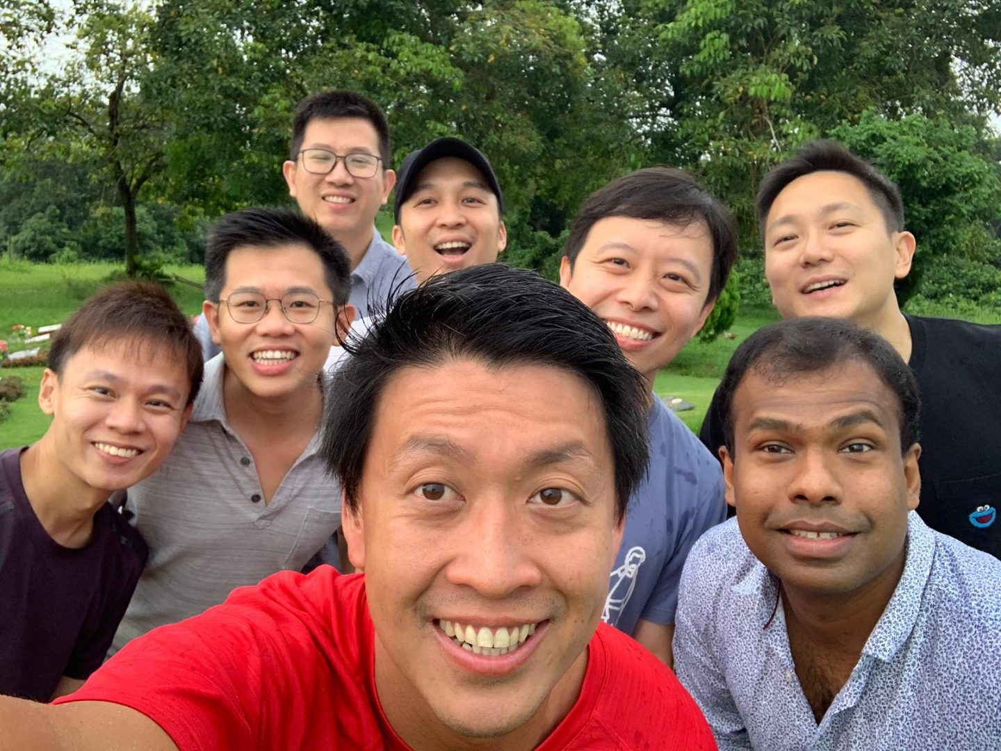 Morgan (back row, second from right) and some of his classmates who meet up yearly. Photo courtesy of Morgan Zhou.