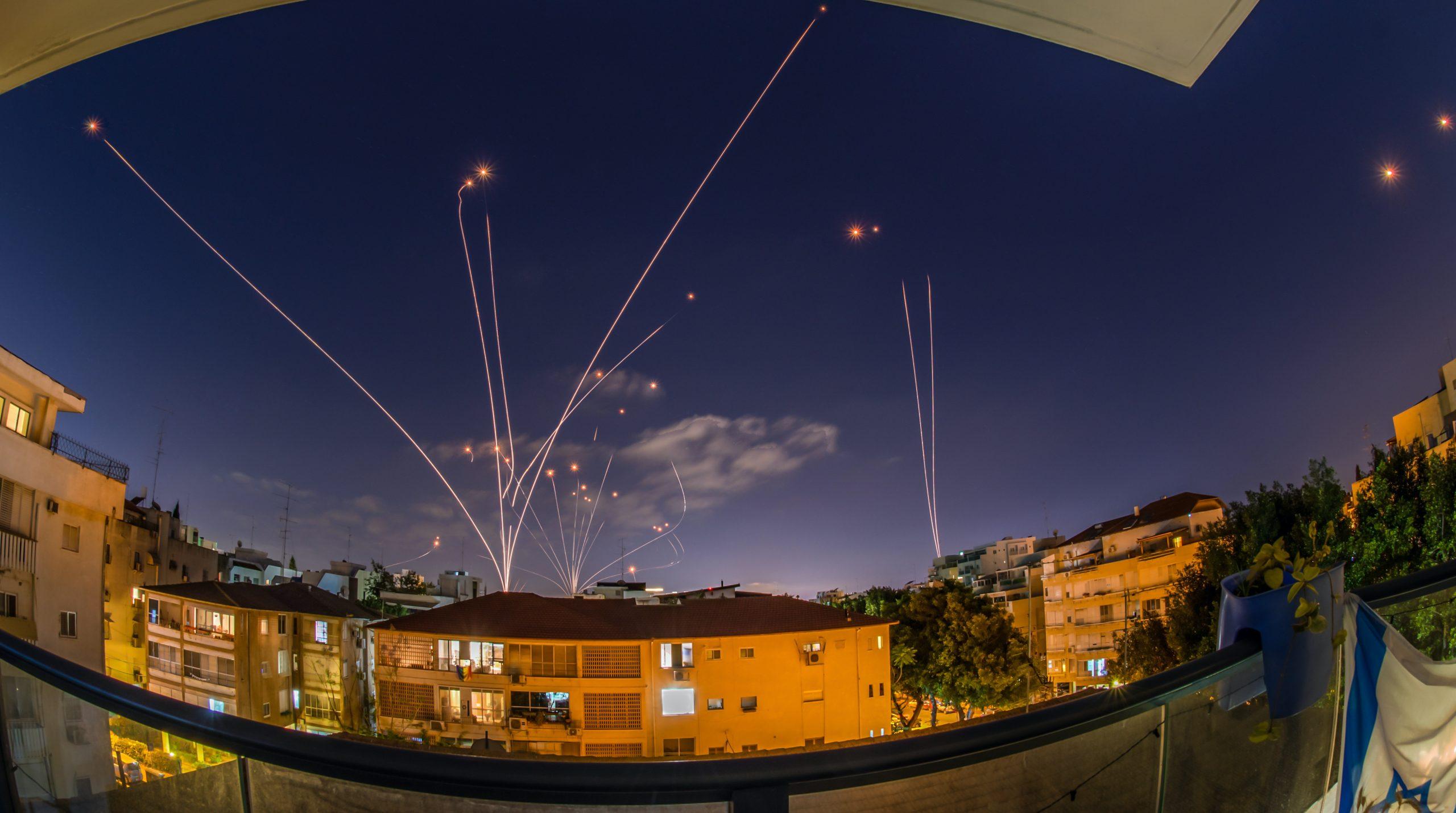 Iron,Dome,Rocket,Interceptions,Of,Hamas,Rockets-,Southern,Israel-,Night